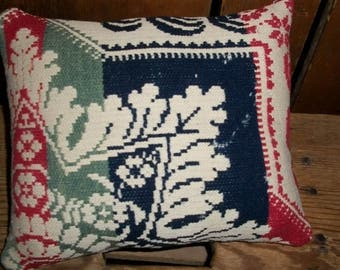 Old Multi Colored and Cream Coverlet Pillow