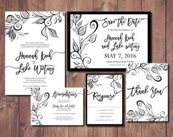 Black and White Printable Wedding Invitation, Black and White Wedding Invitation Suite, Original Wedding Invitations, Black and White