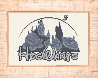Hogwarts cross stitch pattern Modern cross stitch Disney castle cross stitch Harry Potter cross stitch Monochrome chart PDF Instant download