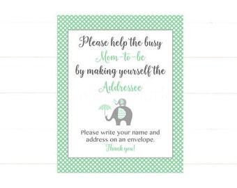 Address an Envelope Sign, Elephant Address an Envelope, Please write your name and address on an envelope Mint Green  248 Printable