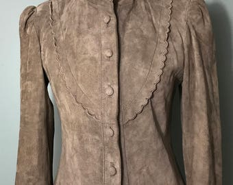 1980's Taupe Brown Leather Suede Jacket with Scalloped Collar and Puffy Shoulders, by Winlit