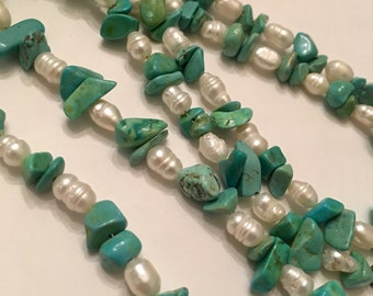 """Genuine turquoise nugget necklace w/faux pearls 30"""""""