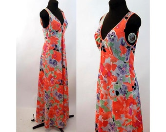 1970s maxi dress nightgown floral nylon dress Shadowline Size S