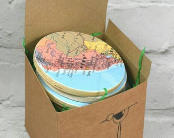 Custom World Map Coasters, Set of Six, Choose 6 of your favourite locations!