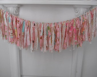 nursery decor party garland tattered rag garland pink tones shabby chic garland shabby decor teen room tween room decor 4 feet wide