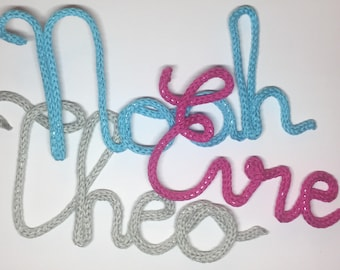 Knitted Wire Name or Word - 12 Colour Choices
