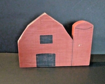 Vintage wood red barn with silo, Distressed, hand made, painted, signed, farmhouse decor, rustic barn decor, rustic decor