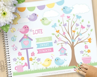 Summer Song Birds Clipart, Spring Garden, bird cages, butterfly, birdhouse, pastel colors, Commercial Use, Vector clip art, SVG Files