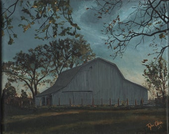 "Old Barn landscape, Original 8x10"" Acrylic - Barn at Dusk - by TWAdair Art"