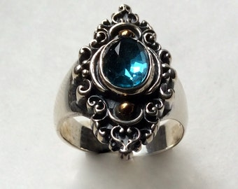 Blue topaz ring, boho chic ring, bohemian ring,Tibetan ring, unique, gemstone ring, gypsy jewelry, mixed metals ring - The blue sky R2243