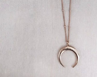 Crescent Necklace, Gold, Silver, 14k, charm