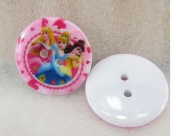 Set of 5 Disney Princesses resin buttons