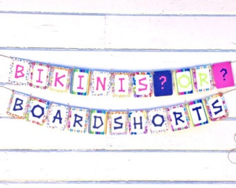 Gender Reveal Party - Hawaiian Theme Gender Reveal - Bikinis or Boardshorts Gender Reveal - Beach Theme Decorations - Girl or Boy