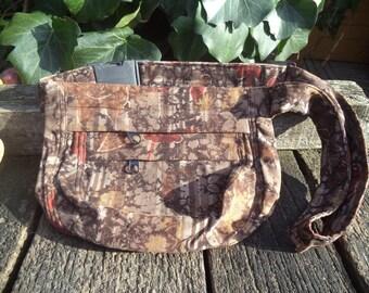 Brown floral corduroy hip bag,fanny pack