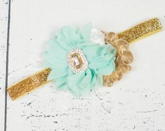 MINT WHITE GOLD Headband, Baby headband, Mint White Gold Flower Girl Headband, Mint Girls Headband, Girls First Birthday Headband