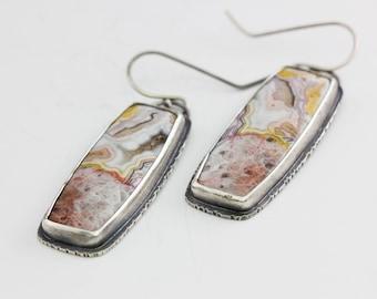 Crazy Lace Agate Earrings, Agate Earrings, Sterling Earrings, Rustic Chic, Natural Gemstone