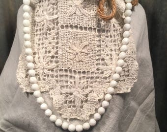 Vintage White Glass Faceted Bead Necklace