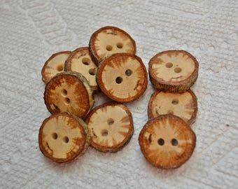 """Boutons en bois boutons en bois, boutons de branche d'arbre au crochet boutons col boutons quantité de 10... chêne échauffé 3/4"""" boutons lot de 439"""