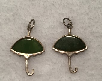 Sterling Inset Glass Umbrella Charms - CA 1960's - Item# CH407