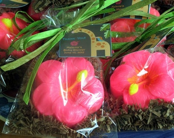 10 Pink Hibiscus Flower Soap Party Favors for Luau, Wedding, Hawaiian Themed Birthday Summer  Parties and more