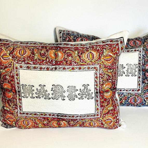 Personalised pillow , name pillow , block printed pillow , gift pillow, gift for kids, birthday pillow, love pillow
