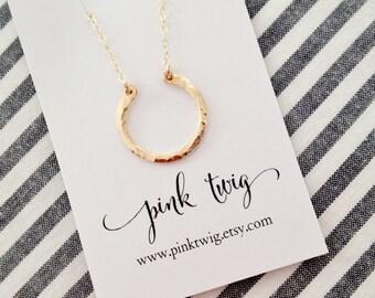 Gold Horseshoe Necklace, Handmade Hammered Horseshoe Necklace, Petite Gold Horseshoe, Horseshoe Charm