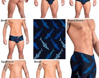 Blue Shark Swimsuits for Men by Vuthy Sim.  Thong, Bikini, Brief, Squarecut, Boxer, or Board Shorts - 167