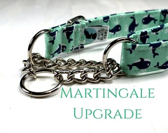 "Martingale Collar UPGRADE ONLY | Silver Half Check Chain Martingale Collar Upgrade (3/4"", 1"" or 1.5"" width upgrade)"