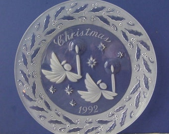 Christmas Glass Plate, Lenox 1992 Christmas Chrystal Plate with Angels, Candles, Etched Holly and Berries Around, Made in W. Germany