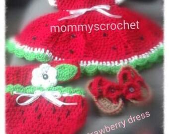 Crochet baby Strawberry dress