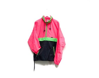 Vintage 80s Neon Track Jacket / KWAY Hooded Outdoor Camping Jacket / 90s Hip Hop Break Dance Vaporwave Rain Jacket / Hot Pink Fluorescent