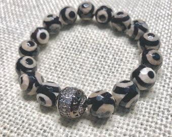 10mm Faceted 3 eyes beaded bracelet with rhinestone focal bead