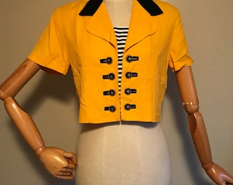 vintage womans, vintage 80s, Scarlett Dress shirt, cropped shirt, cropped top, soze small, size 4