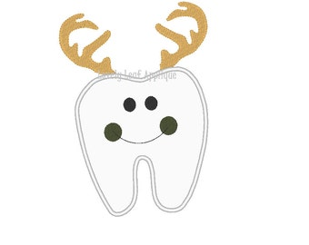 DIGITAL ITEM: Tooth with Antlers Applique Design