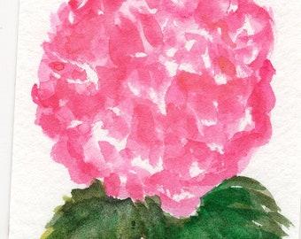 ACEO original Pink Hydrangea Watercolors Paintings, Hydrangea Art Card hydrangea painting, ACEO card, miniature painting, SharonFosterArt
