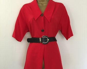 Vintage red pointed dagger collar shirt blouse top size 10,12,14