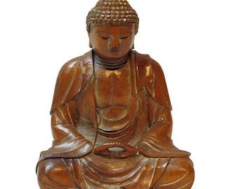 30%OFF SALE Detail Handcrafted Boxwood Meditation Gautama Shakyamuni Buddha Statue n236E