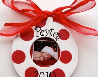 Personalized Ornament Christmas Holiday Photo Picture Jolly AND  Bright Design