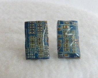 Steampunk Recycled Circuit Board Earrings  SE159
