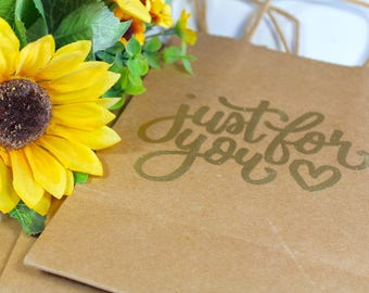 Just For You Gift Bag, Personalised Gift Bag, Bespoke Mini Kraft Paper Bag, Handlettered Embossing, Gifts, Wedding, Bridal, Favours, Rustic