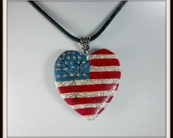 Patriotic Heart Pendant, Stars and Stripes Pendant,, Polymer Clay, Americana, Red White Blue Pendant, 4th of July, Crackled Finished