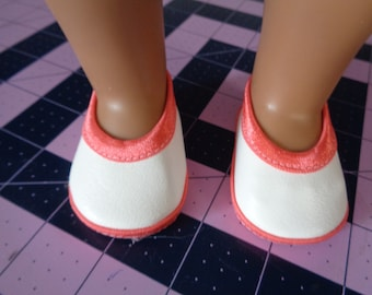 Coral and White Mary Jane- Flats- Doll Shoes-- for 18 inch dolls- fits american girl dolls