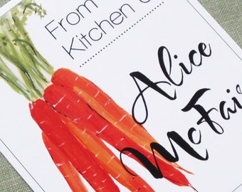 From the Kitchen of Labels or Cooks Stickers with Carrots, Set of 18