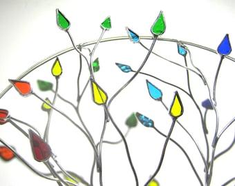 Vous choisissez n'importe quelle taille - vitrail 3D mur Accent - rond coloré fil arbre Gay Pride Home Decor mural Suncatcher (fait à la commande)