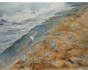 "Surf ,Seagulls, Birds Gathering,Sienna Sandy Beach,Shoreline, Misty Lake Michigan, Watercolor Art 10.25""H x 13.50""W by Janet Dosenberry"