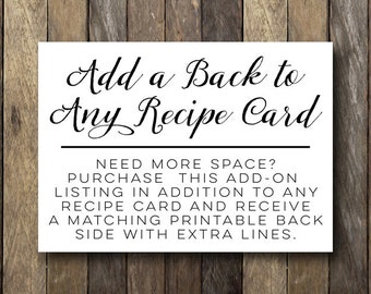 Recipe Card Add-On  /  Add a Back to Any Recipe Card  /  Printable Recipe Cards