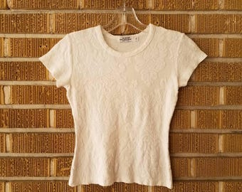 90s white, textured brocade crop top -small-