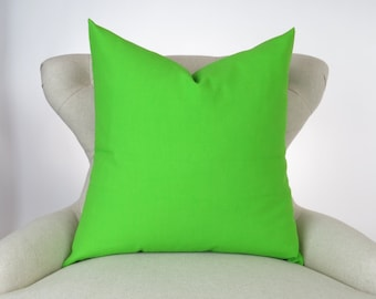 Throw Pillow Cover, Decorative Cushion, Euro Sham, Accent Pillow, Plain Pillow, Solid Color -MANY SIZES- Chartreuse Green Lime