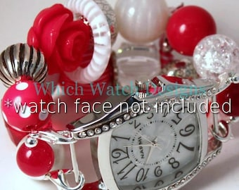 Candy Cane.. Festive Red and White Chunky Interchangeable Beaded Watch Band