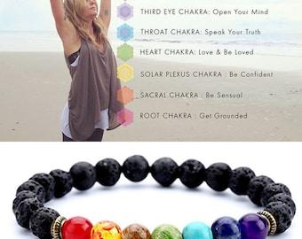 7 Chakra Gemstone Bracelet Lava Stone Crystal Reiki Healing Balancing Natural